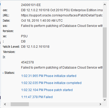 Failed to perform patching of Database Cloud Service – Technology Geek
